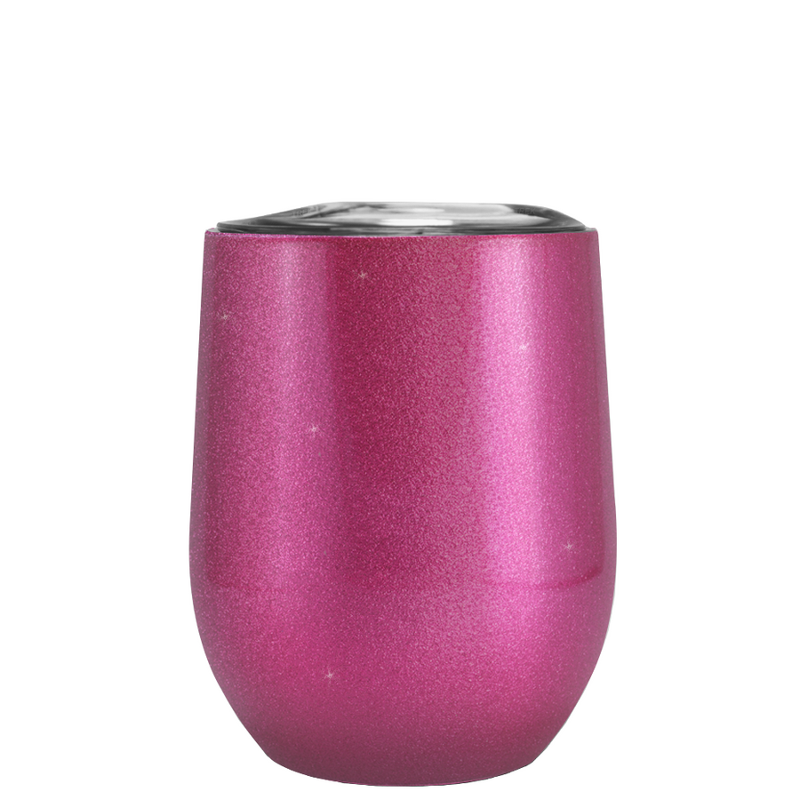 TREK Hot Pink Glitter 12 oz Stemless Wine Glass Stainless Steel