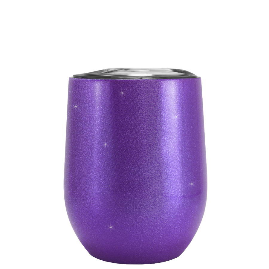 Custom TREK Purple Glitter 12 oz Stemless Wine Glass