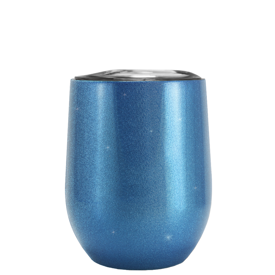 TREK Pacific Blue Glitter 12 oz Stemless Wine Glass Stainless Steel