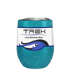 Custom TREK Teal Glitter 12 oz Stemless Wine Glass