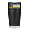 Dispatchers Distressed Thin Gold Line Flag on Black 20 oz Tumbler