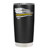 Dispatchers Distressed Thin Gold Line Flying Flag on Black 20 oz Tumbler