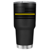 Dispatchers Thin Gold Line American Flag on Black 30 oz Tumbler