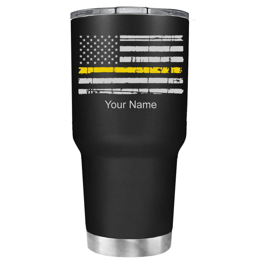 Dispatchers Distressed Thin Gold Line Flag on Black 30 oz Tumbler