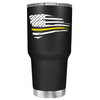 Dispatchers Distressed Thin Gold Line Flying Flag on Black 30 oz Tumbler