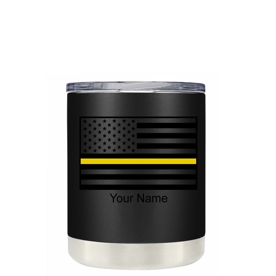 Dispatchers Thin Gold Line American Flag on Black 10 oz Tumbler