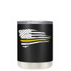 Dispatchers Distressed Thin Gold Line Flag on Black 10 oz Tumbler