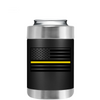 Dispatchers Thin Gold Line American Flag on Black Can Cooler