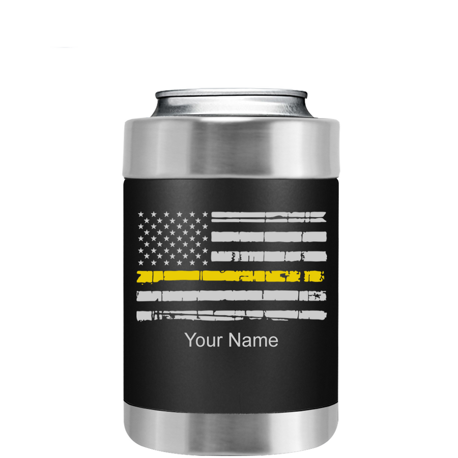 Dispatchers Distressed Thin Gold Line Flag on Black Can Cooler