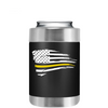 Dispatchers Distressed Thin Gold Line Flying Flag on Black Can Cooler