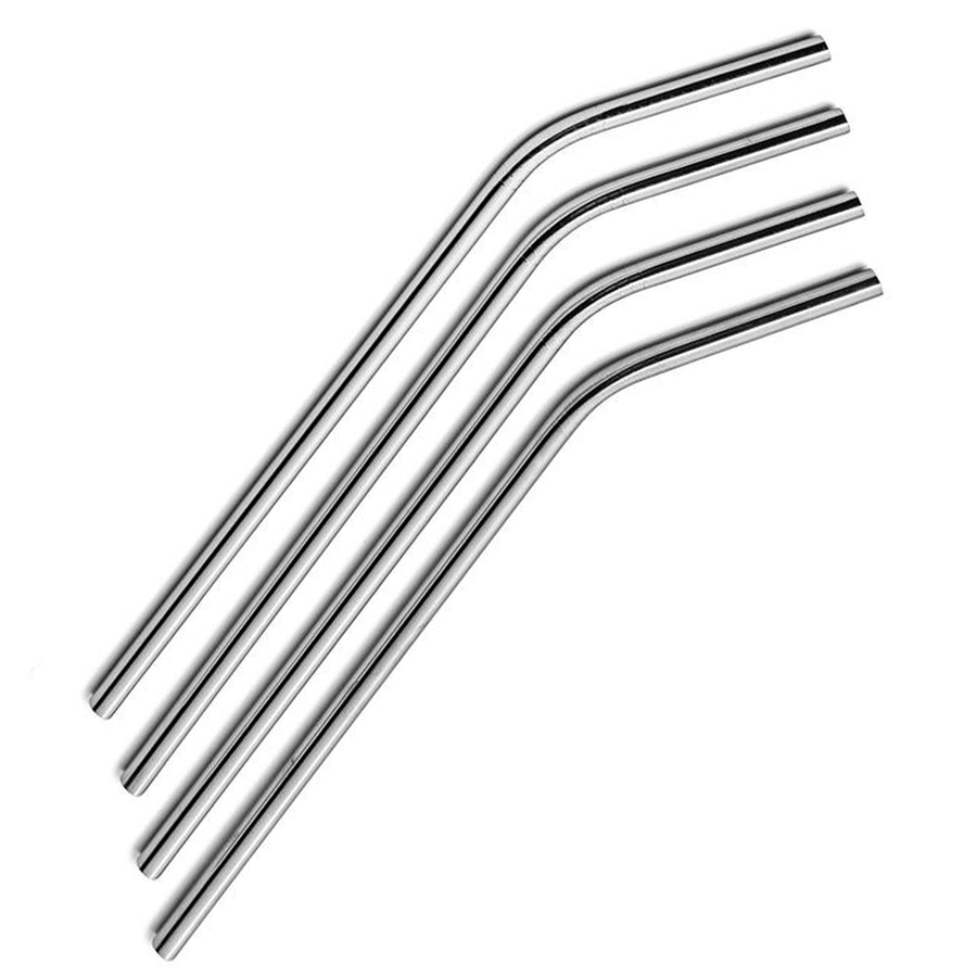 TREK Four Pack Stainless Steel Bent Straws