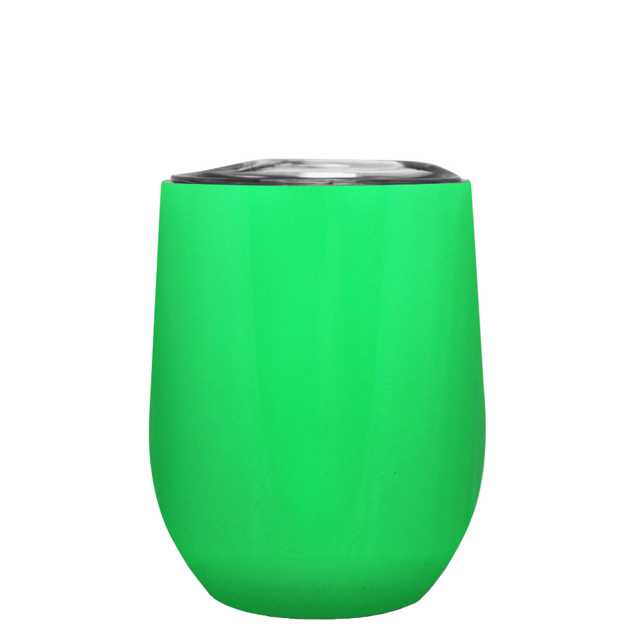 TREK Neon Green 12 oz Stemless Wine Stainless Steel Cup