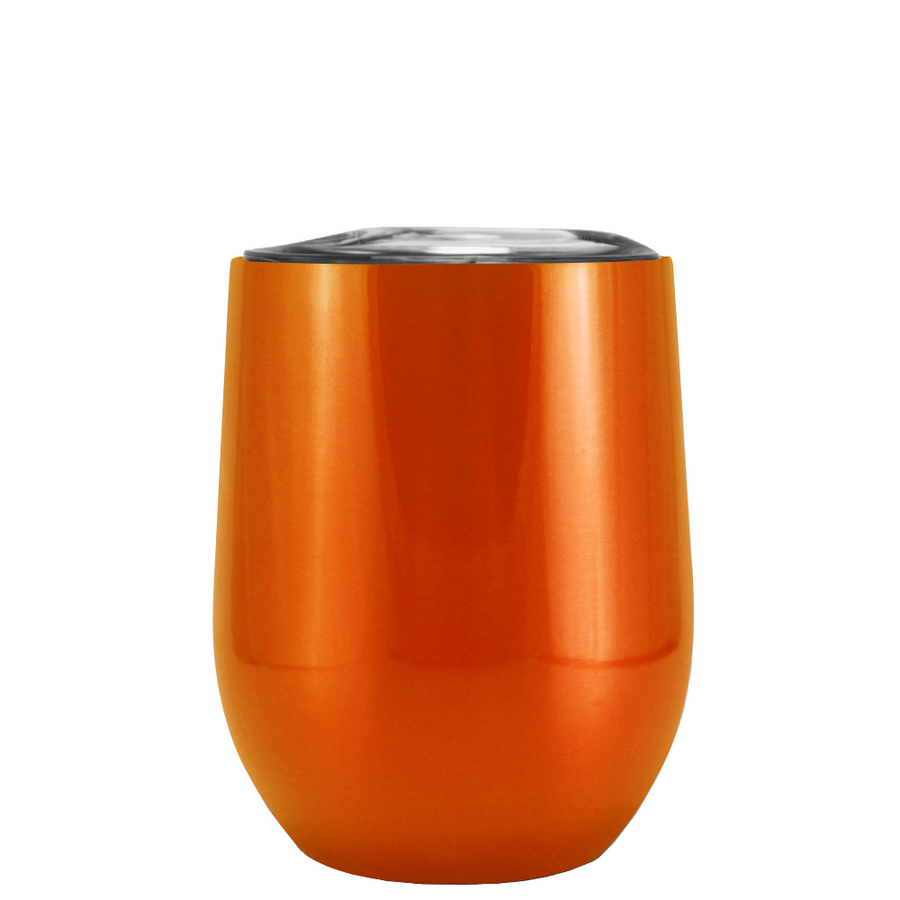 Custom TREK Translucent Orange 12 oz Stemless Wine Glass
