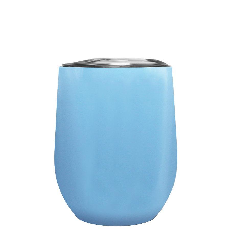 TREK Pastel Blue 12 oz Stemless Wine Stainless Steel Cup