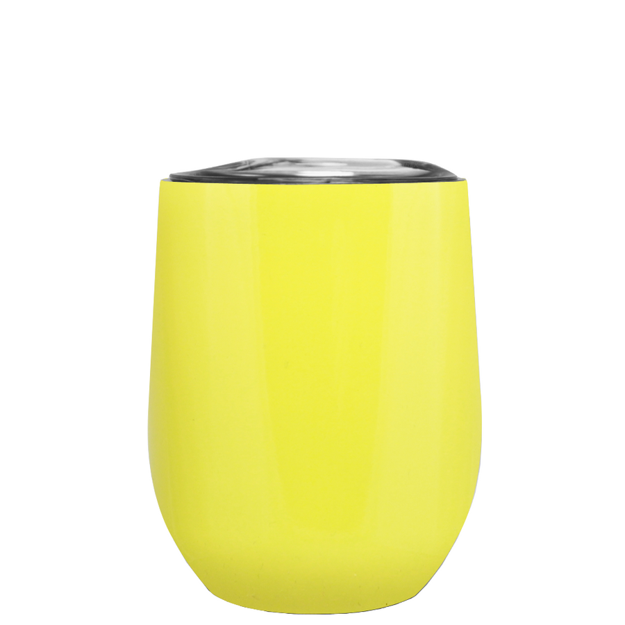 Custom TREK Sunshine Yellow 12 oz Stemless Wine Glass