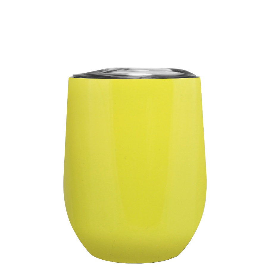 TREK Yellow Gloss 12 oz Stemless Wine Stainless Steel Cup