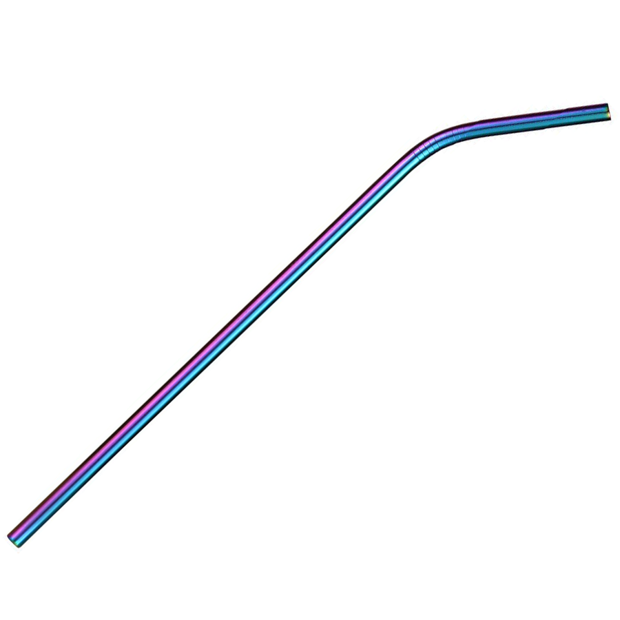 TREK Multicolor Rainbow Stainless Steel Curved Straw