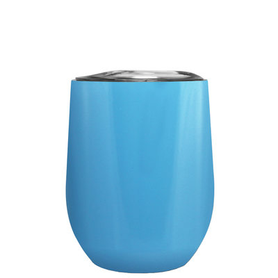 Age Gets Better with Wine on Baby Blue 12 oz Stemless Wine Tumbler