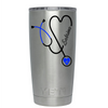 YETI Nurse Personal Blue Stethoscope Heart on Stainless 20 oz Tumbler