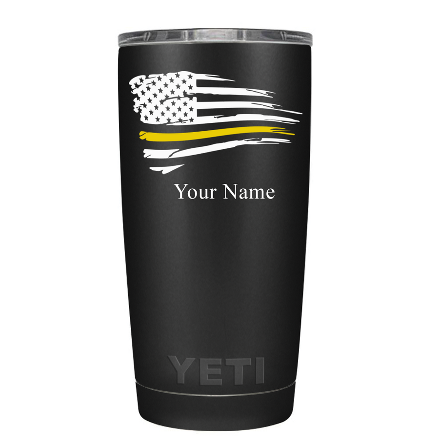 YETI Dispatchers Distressed Thin Gold Line Flying Flag on Black 20 oz Tumbler