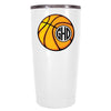 YETI 20 oz Basketball Monogram Design on White Tumbler