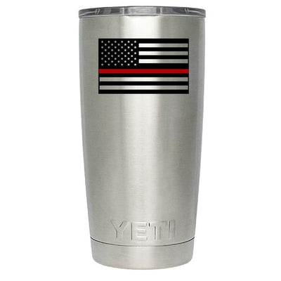 YETI USA EMS Fire Red Line Flag Personalized 20 oz Rambler