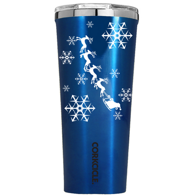 Corkcicle 24 oz Santa Sleigh Ride and Snowflakes on Blue Translucent Tumbler