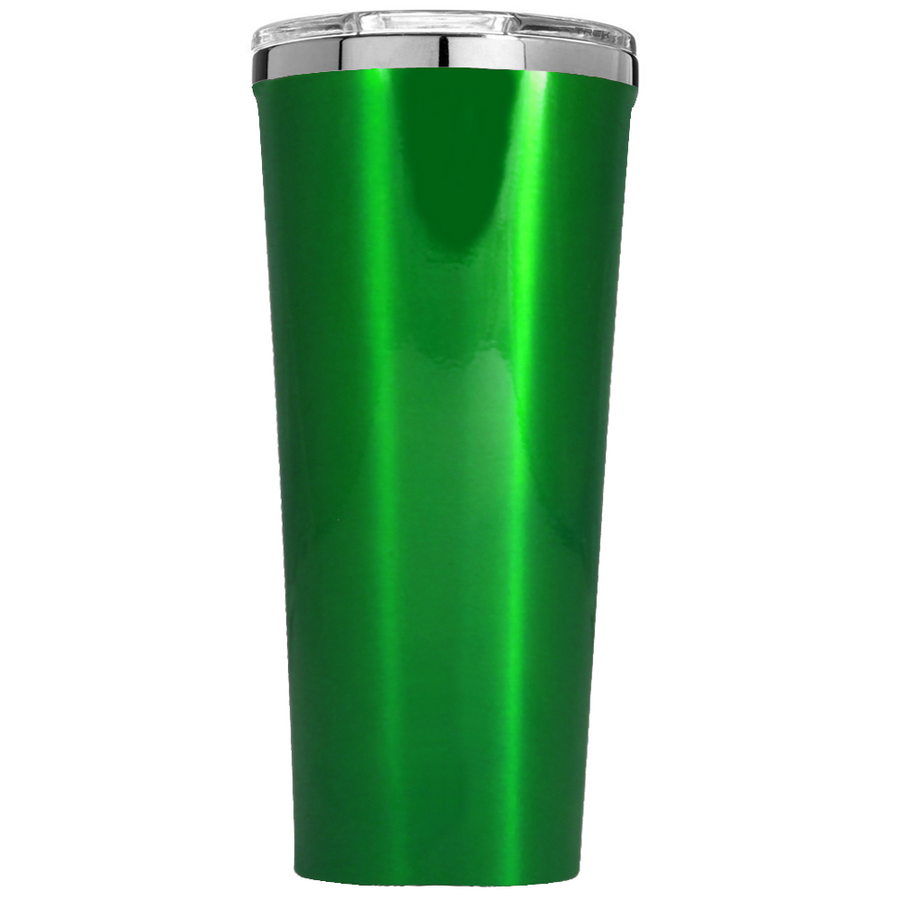Corkcicle 24 oz Santa Sleigh Ride and Snowflakes on Green Translucent Tumbler
