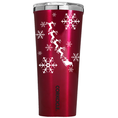 Corkcicle 24 oz Santa Sleigh Ride and Snowflakes on Red Translucent Tumbler