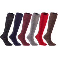 LLS Girls' Women's 6 Pairs Pack High Crew Wool Socks Size 7-9 6 Colors
