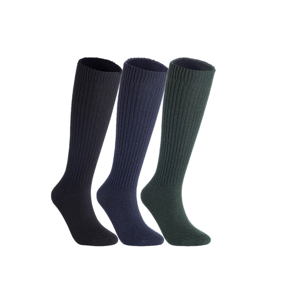 Lian LifeStyle Women's 3 Pairs Exceptional Non slip, Cozy and Cool Knee High Wool Socks LFS05 Size 6-9 (Black, Navy, Green)