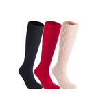 Lian LifeStyle Women's 3 Pairs Exceptional Non slip, Cozy and Cool Knee High Wool Socks LFS05 Size 6-9 (Black, Red, Beige)