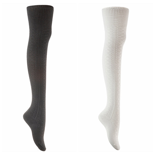 Meso Big Girl's Women's 2 Pairs Awesome Thigh High Cotton Socks M1025 Size 6-9