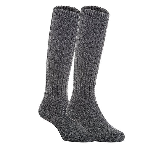 Meso Unisex Children 2 Pairs Knee High Wool Boot Socks MFS02 Size 4-6Y(Dark Gray)
