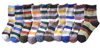 Lian LifeStyle Children's 10 Pairs Cashmere Wool Socks Striped 4 Sizes