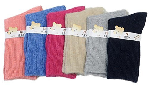 Lian LifeStyle Children 6 Pairs Pack Wool Socks Plain Color 3 Sizes 0M-6Y