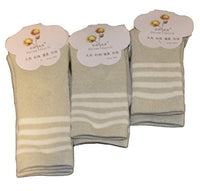 Meso Baby's 3 Pairs Pack organic Cotton Crew Socks Strip Size(0Y-4Y)