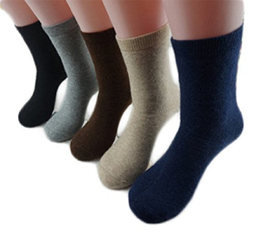 Meso Men's 6 Pairs Extra Thick Cashmere Wool Socks Plain Color Size 9-11