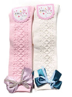Meso Girls' 2 Pairs Pack Knee High Cotton Socks 3 Sizes(0Y-10Y)