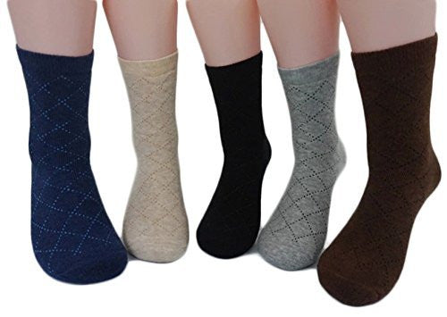 Lian LifeStyle Men's 1 Pair Extra Thick Cashmere Wool Socks Diamond Size 9-11