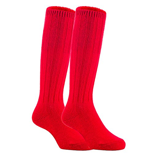 Meso Unisex Children 2 Pairs Knee High Wool Boot Socks MFS02 Size 2-4Y(Red)