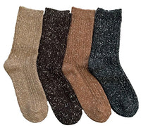 Women's&Big Girl's 4 Pairs Pack Fashion Soft Cotton Crew Socks Size 5-9 HR1614-4P4C-06(Coffee, Brown, Tan, Navy)