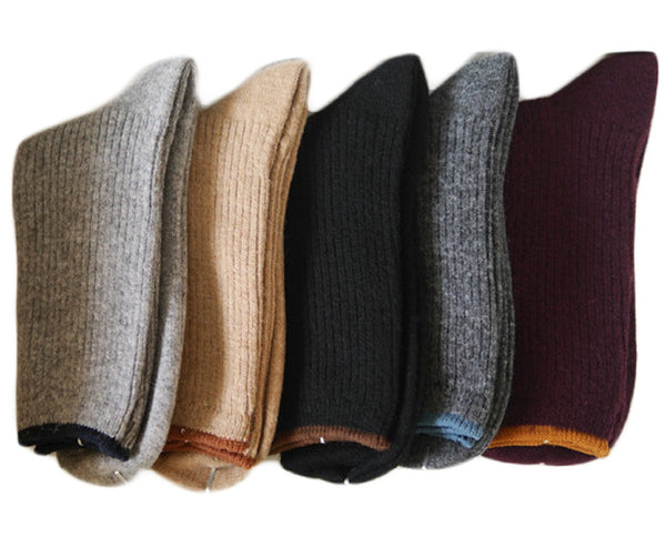 Lian LifeStyle Women's 6 Pairs Cashmere Wool Socks Casual Solid Size 7-9