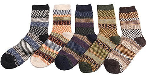 Lian LifeStyle Women's 5 Pairs Wool Crew Socks Casual Classic Square