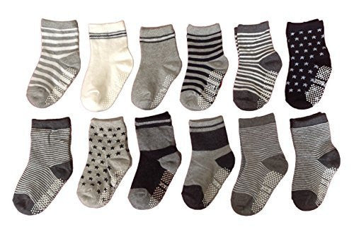 Meso Unisex Children 12 Pairs Pack Non-Skid Non-Slip Cotton Socks 1Y-3Y
