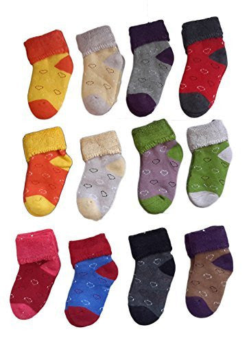 Meso Unisex Children 6 Pairs Pack Cashmere Wool Socks Love Heart Random Color