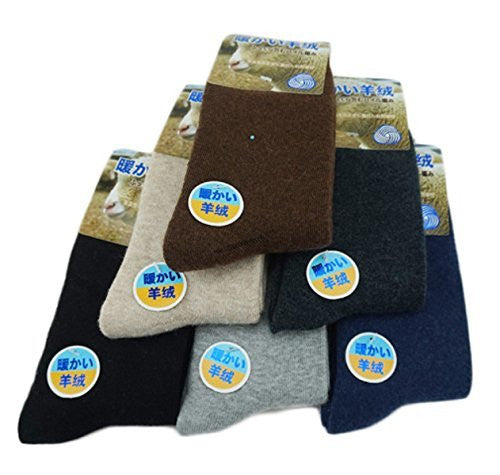Lian LifeStyle Men's 4 Pairs Thick Cashmere Wool Socks Diamond Size 9-11