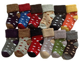 Meso 8 Pairs Children Cashmere Wool Dotted Socks Random Color