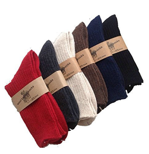 Meso Men's 12 Pairs Knitted Wool Crew Socks One Size 8-11