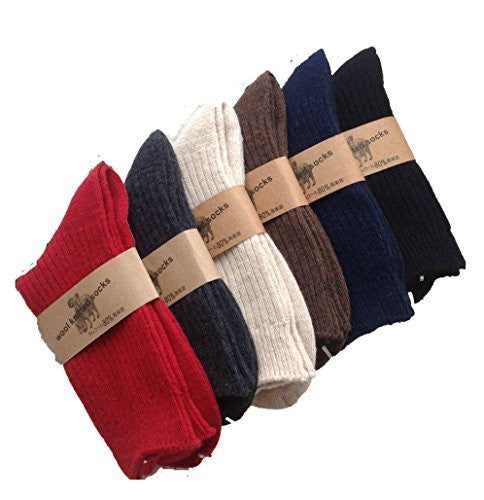 Lian LifeStyle Women's 6 Pairs Knitted Wool Socks One Size 7-10